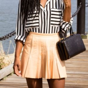H&M Conscious Collection Pleated Leather Skirt